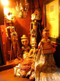 Some of the puppets displayed around the barge, old puppets collected by Gren and Juliet.