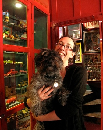 Sarah with Haggis, the museum dog.