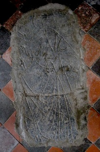 One of several carvings uncovered on the floor representing religous women