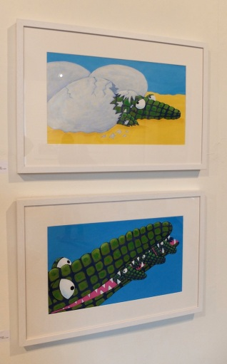All the kids knew Adrienne Geoghegan's mama croc was carrying her babies, not eating them. These images are done in acrylics, as are mine.