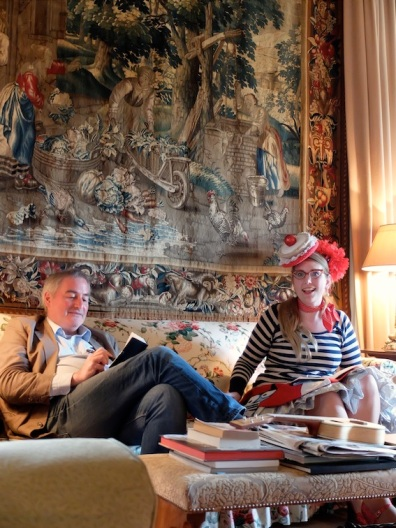 Chris Riddell and Sarah McIntyre sketching under a tapestry. As you do.