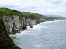 Dramatic limestone cliffs viewed from Dunluce
