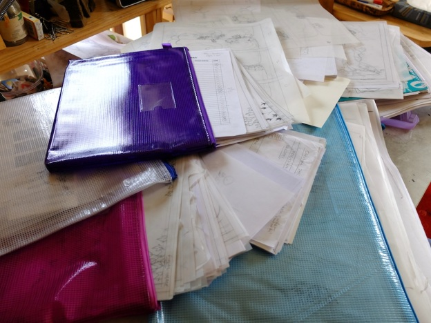 Hundreds and hundreds of drawings, all on tracing paper, my surface of choice. Some find the bin; most get filed.