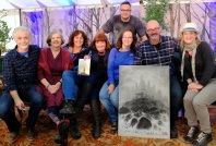 Eoin, Siobhán, Enda, Patricia, myself, PJ with an image done on the spot, and Oisín towering o'er us