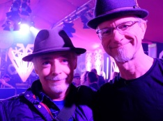 Eoin and Michael swap hats at the Other Voices tent