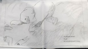 spread 6 Ellie uses her coat to turn into an elephant and charges her tormentors