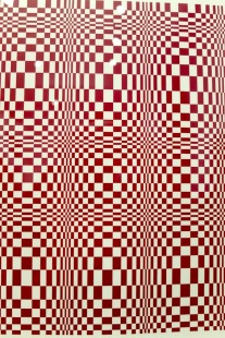 Again, original art for The Wizard of Op (1975). Ed created these eye-watering pieces of Op art using Rubylith film. Rubylith was red film attached to a clear backing film. You cut out shapes on it using a scalpel and peeled away the pieces you didn't want. It was usually used for colour overlays but Ed used it in order to achieve razor-sharp lines, rather than draw the piece with a radiograph pen which wasn't giving him exactly the control he wanted. In the book the image was printed black.