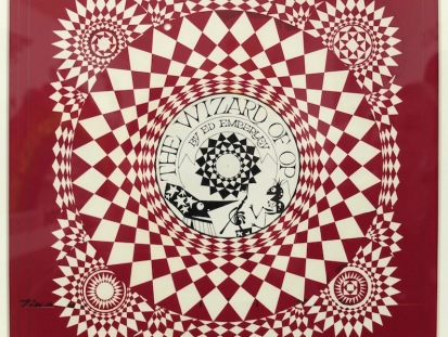 This is original art for the cover of The Wizard of Op (1975). Ed created these eye-watering pieces of Op art using Rubylith film. Rubylith was red film attached to a clear backing film. You cut shapes on to it using a scalpel and peeled away the pieces you didn't want. It was usually used for colour overlays but Ed used it here in order to achieve razor-sharp lines, rather than draw the piece with a radiograph pen which wasn't giving him exactly the control he wanted. He has drawn the central section with a pen. The image was printed in black.
