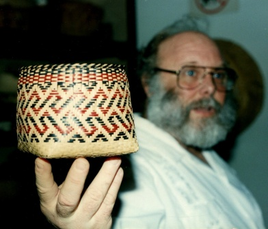 Marshall Gettys holding up a typical Choctaw weave