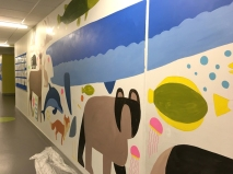 Chris did a mural of Irish creatures, past and present, dominated by a basking shark