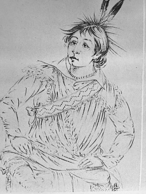 (Photocopy of) a drawing by George Catlin of Hah-tchoo-tuck-nee