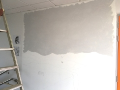 basic grey for sky in - a relief to finally have paint on the wall