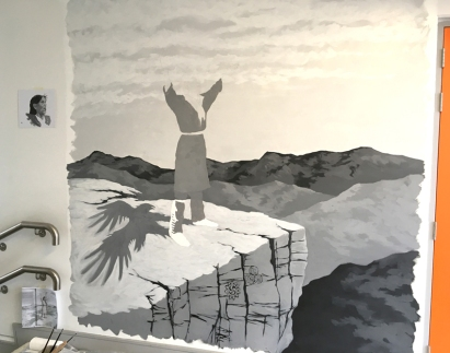 The cliff is done and the eagle shadow; onto the figure.