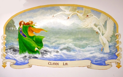 finished piece - The Children of Lir - the colours are gorgeous and it looks like it has always been on this wall. There's a real feeling of depth.